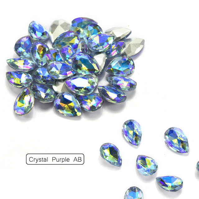 10Pcs/Lot 3D Nail Art Rhinestones Shining Color Flame Glass Stone Crystal Water Drop Nail Decoration Tool Nail Accessory BE102