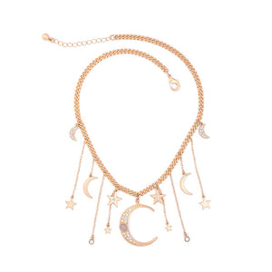 KISS ME Brand Crystal Moon Star Necklaces & Pendants Unique Gold Color Chain Necklace Accessories for Women