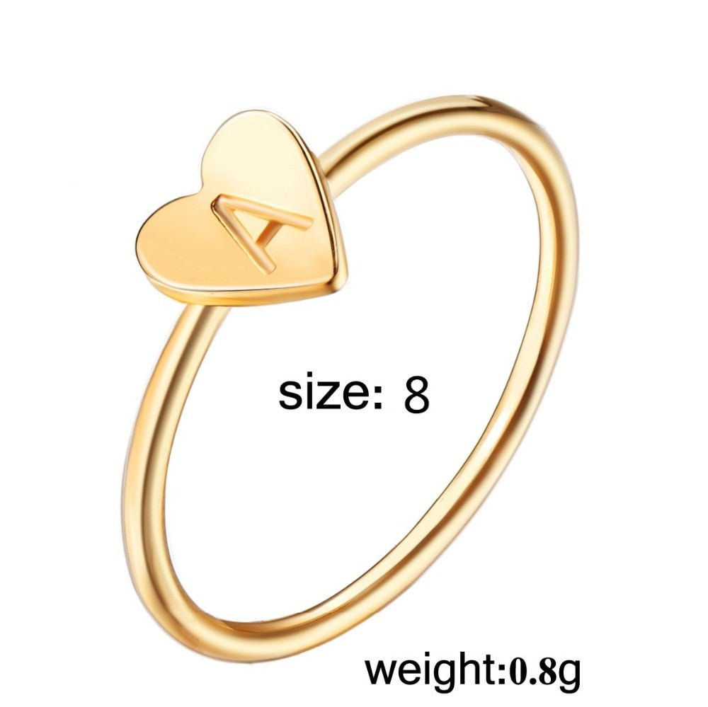 17KM Fashion Gold Silver Color Heart Letters Rings For Women DIY Name Ring Set Female Statement Engagement Party Jewelry 1PCS