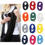 Infinity Scarf with Zipper Pocket - 12 Colors