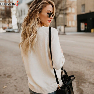 2019 Autumn Winter Women Sweaters Heart Pattern Printed Long Sleeve Tops O-Neck Lovely Pullovers Knitted Loose Sweaters Tops
