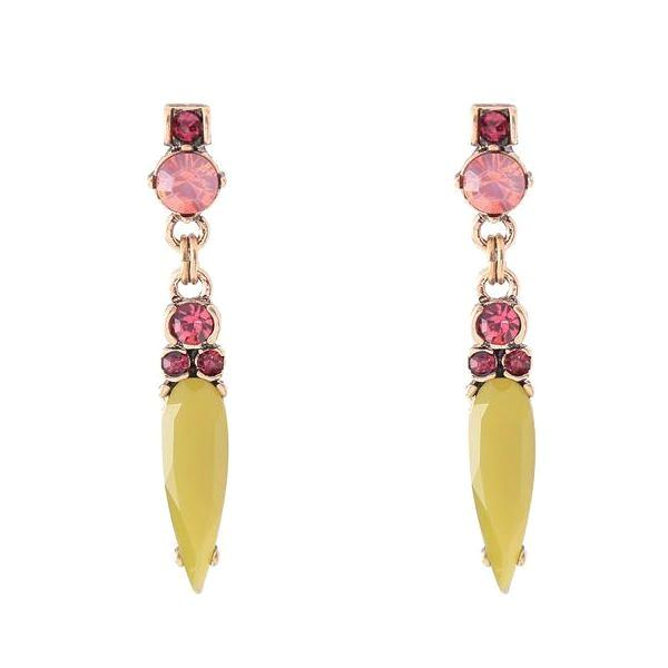 Yellow Sunset Crystal Dagger Drop Earrings