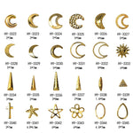 50pcs/lot, 3D Gold Nail Art Studs Cross Stars Moons Shapes DIY Metal Rivets Nail Art Decorations Nail Tools
