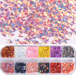 1 Case Chameleon Laser Triangle Sequins Nail Art Glitter Flakes Holo Powder UV Gel Polish Paillette Tool Decor Manicure JI1-12