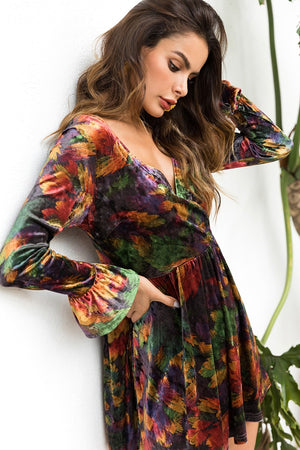 2018 LONG Sleeve autumn floral printed women dress vintage office ladies fashion casual sexy v-neck a-line velvet velour dresses