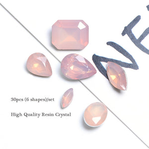 30pcs Pink Resin Rhinestones Gems Mermaid Gradient Rectangle Water Drop Oval Nail Art Decoration Crystal Beads Manicure BE066