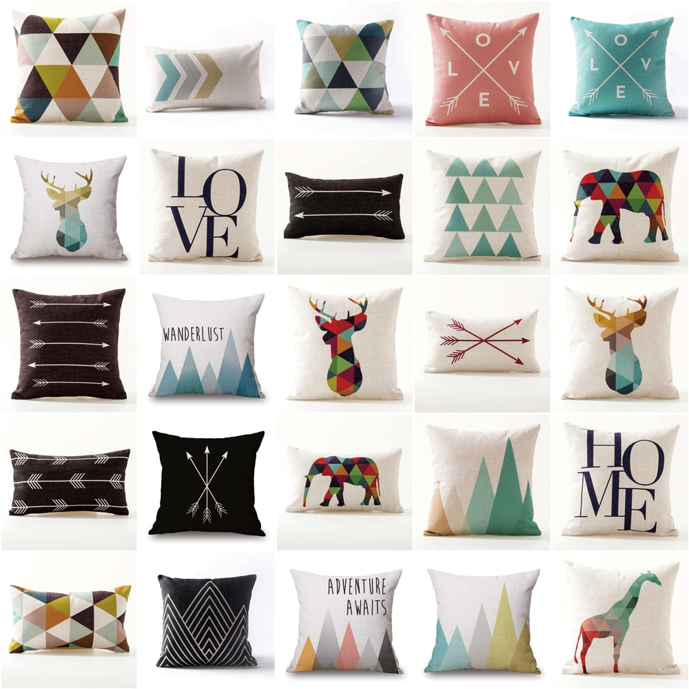 Nordic Geometric Nature & Animals Throw Pillow Covers - 25 Styles