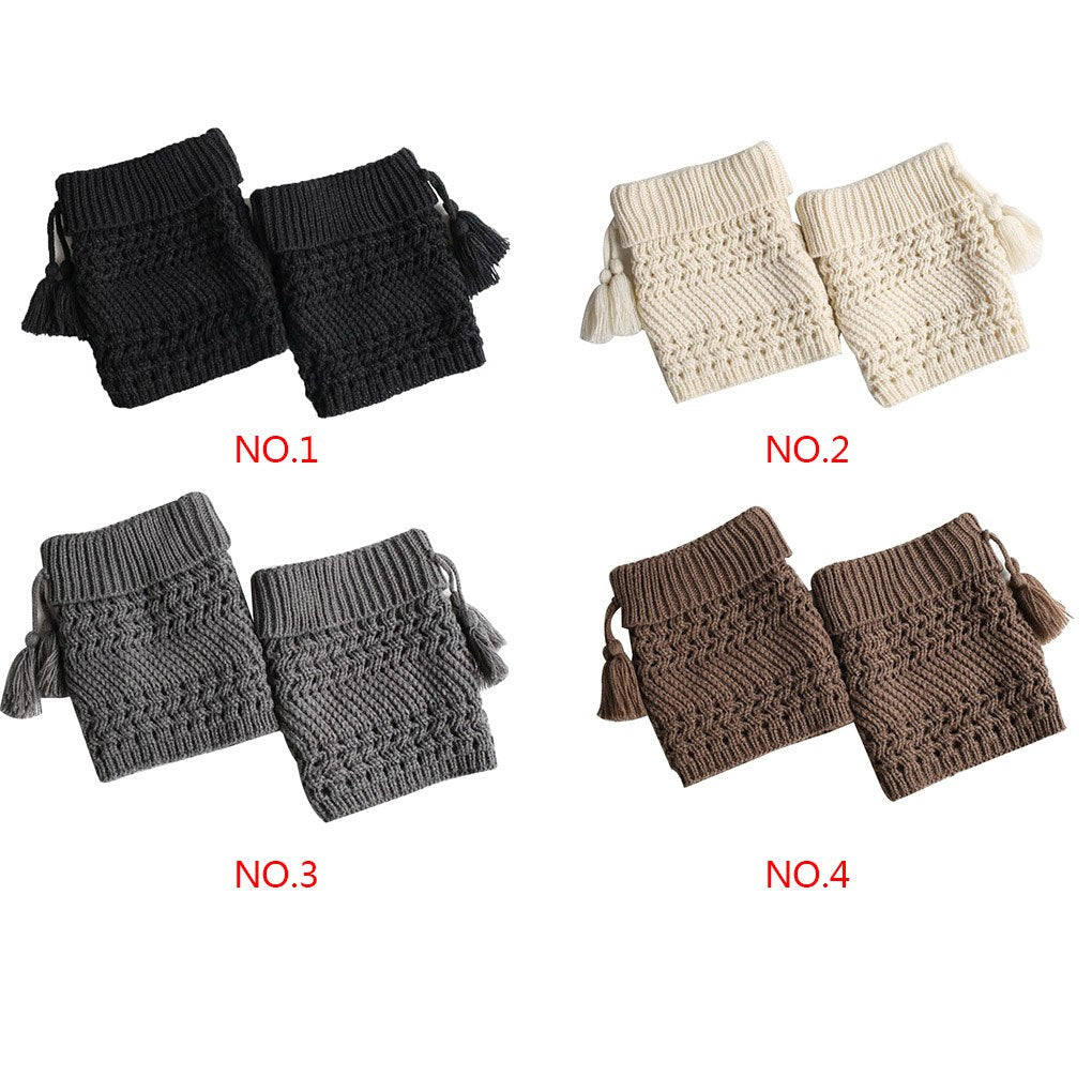 1 Pair Fashion Winter Tassel Womens Knitted Leg Warmers Sock Elastic Stretchy Soft Trim Boot Cover Cuffs Toppers