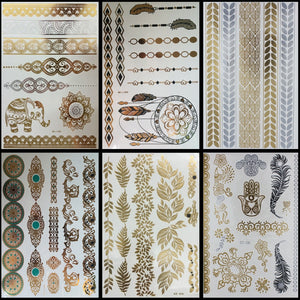 Gold, Silver & Turquoise Variety Pack Metallic Flash Temporary Tattoos - 6 Sheets