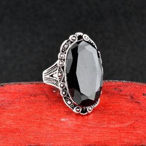 Black Cubic Zirconia Vintage Style Cocktail Ring
