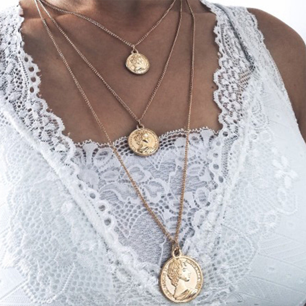 Layered Vintage Style Gypsy Coin Necklace - 2 Colors
