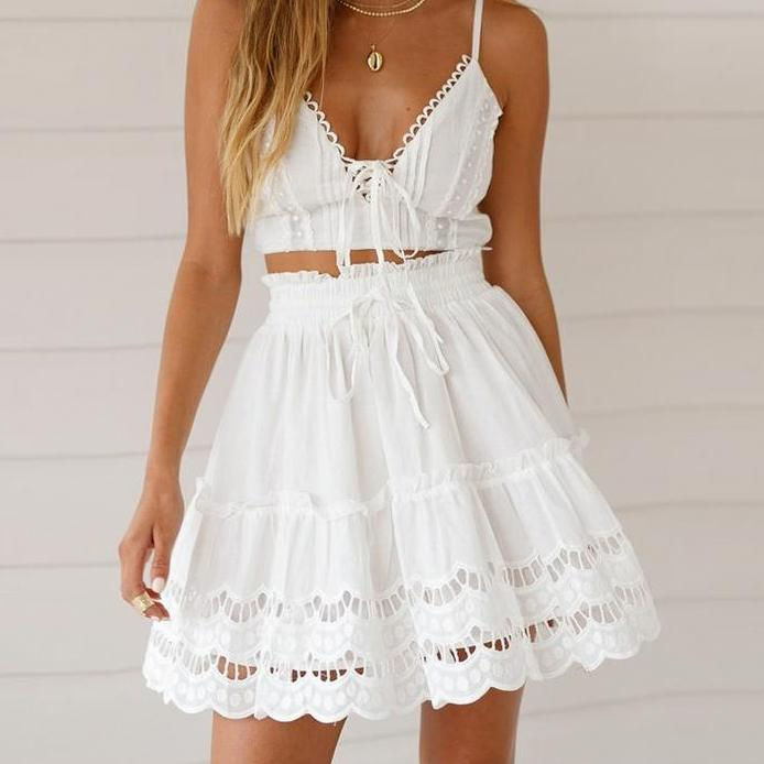 White Cotton Lace Embroidered Skirt