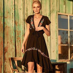 Country Floral Embroidery Asymmetrical Dress - 2 Colors
