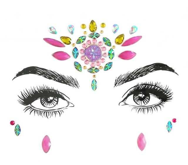 Adhesive Crystal Face & Eye Jewels - 9 Styles
