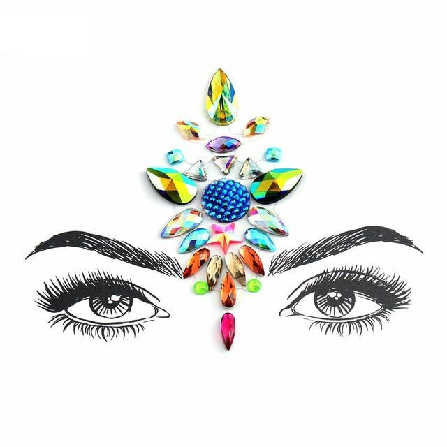Adhesive Crystal Face & Eye Jewels - 2 Styles