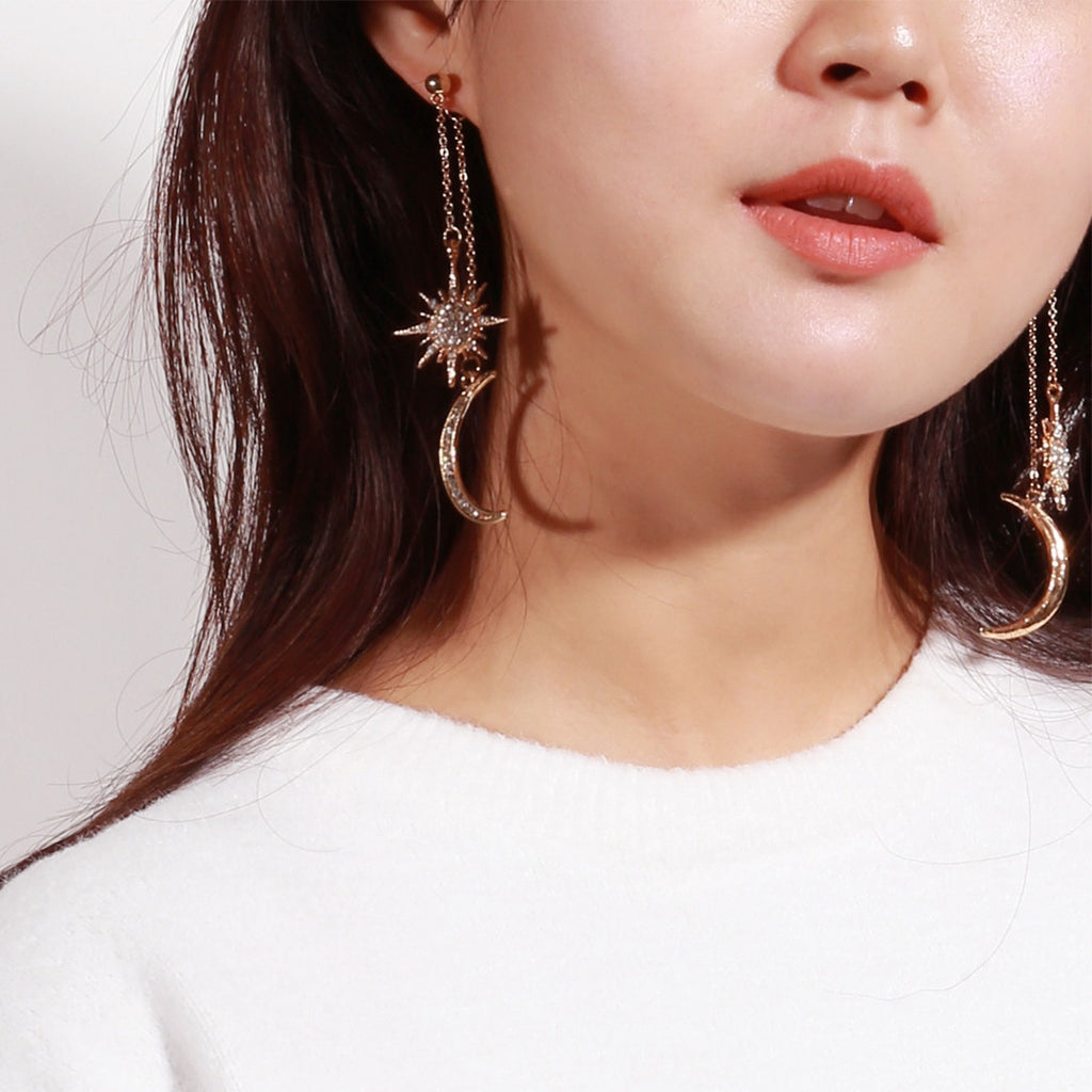 Celestial Moons & Stars Dangly Earrings - 2 Colors