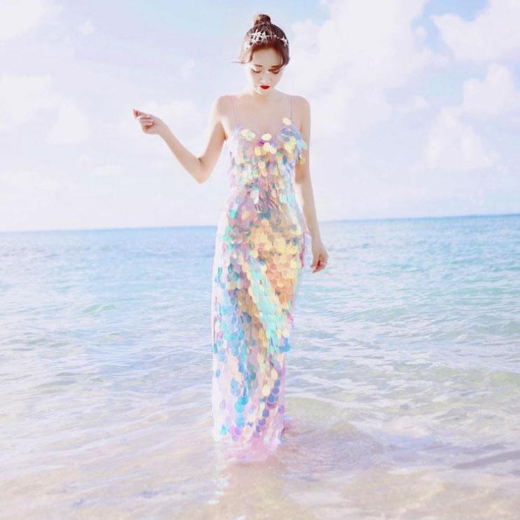 Shimmery Sequins Mermaid Maxi Dress