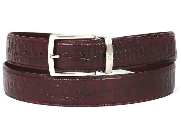 PAUL PARKMAN MEN'S CROC EMBOSSED CALFSKIN DARK BORDEAUX BELT