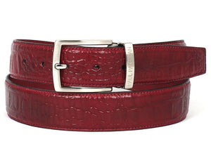 PAUL PARKMAN MEN'S CROC EMBOSSED CALFSKIN BURGUNDY BELT