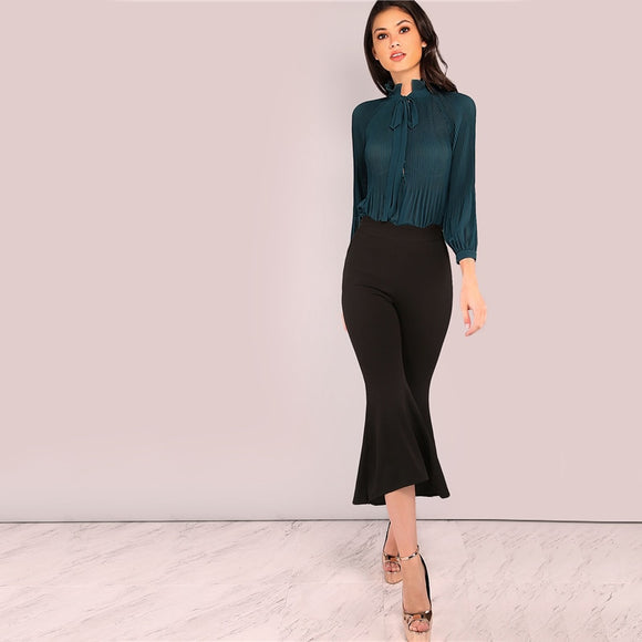 SELF TIE NECK PLEATED CHIFFON BODYSUIT LONG SLEEVE