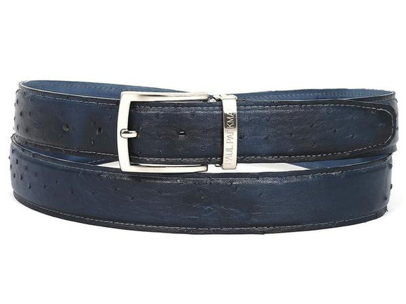 PAUL PARKMAN MEN'S NAVY GENUINE OSTRICH BELT