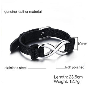 GENUINE LEATHER INFINITY SIGN WRAP BAND ROPE BRACELET