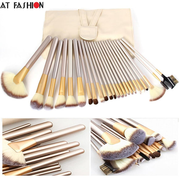 HIGH QUALITY 24 MAKE UP BRUSHES - PROFESSIONAL POWDER FOUNDATION BRUSH SET - Hey Magento