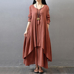 MAXI DRESS TUNIC VINTAGE STYLISH DRESS - 3 COLOUR CHOICE 3 SIZE CHOICE
