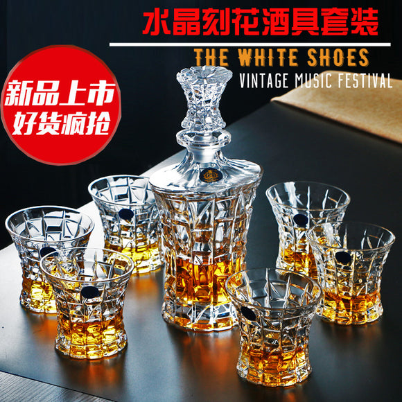 CREATIVE CRYSTAL GLASS DECANTER - WITH WHISKY GLASSES