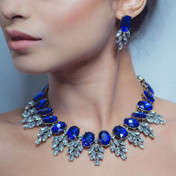 JEWELRY SET INDIAN JEWELS NECKLACE & EARRINGS - Hey Magento