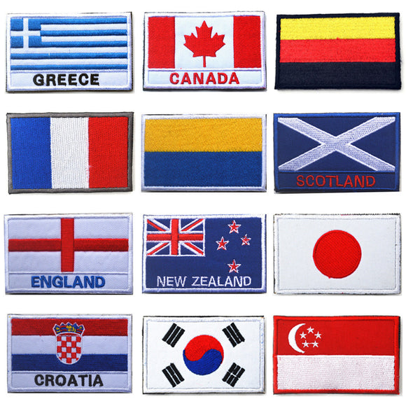 COUNTRY FLAGS - 16 COUNTRIES EMBROIDERED CLOTH BADGE - 1PC