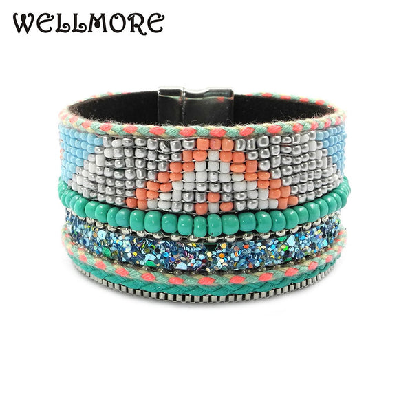 MODEL BEADS BOHEMIAN BRACELET - 3 COLOUR CHOICE - 1PC