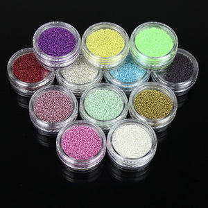 12PCS SET - COLOURFUL MIXED CAVIAR NAIL BEADS GLASS NAIL ART ACCESSORIES - Hey Magento