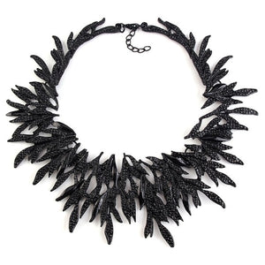 METAL VINTAGE LEAF BID BRAND STATEMENT NECKLACE - 3 COLOURS - 1PC - Hey Magento