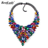 CRYSTAL GEM RHINESTONE NECKLACE - 11 COLOURS - 1PC