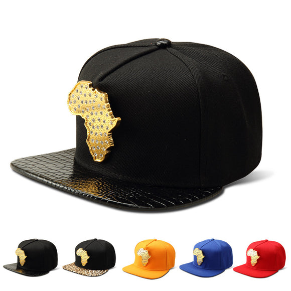 MAP AFRICA GOLDEN RHINESTONE SNAPBACK - 5 COLOURS - 1PC