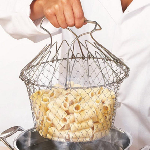 FOLDABLE DEEP FRY CHEF BASKET STEAM RINSE - Hey Magento