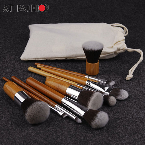 11PC BAMBOO MAKEUP BRUSH SET - Hey Magento