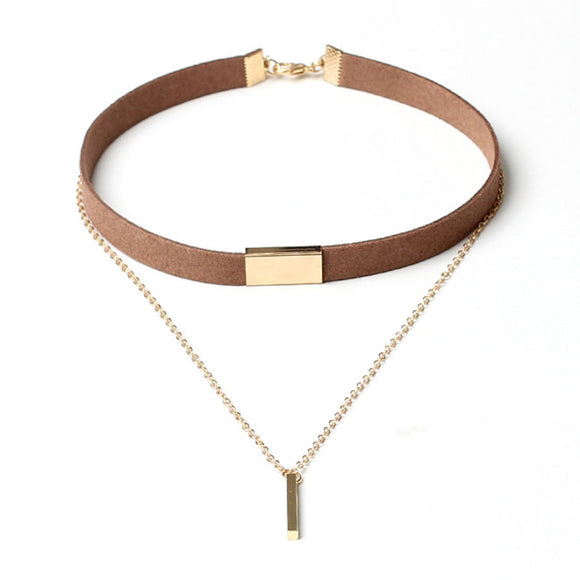 VELVET SHORT GOLD STRIP SHORT NECKLACE - 4 COLOURS - 1PC