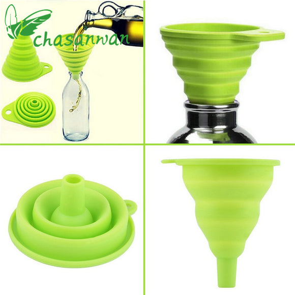 1 PCS KITCHEN SILICONE FOLDING TELESCOPIC FUNNEL FOR OIL, VEGETABLE JUICE ETC - Hey Magento