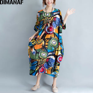 SUMMER PATTERN PRINT LINEN COLOURFUL CASUAL RETRO DRESS - 4 SIZE CHOICE