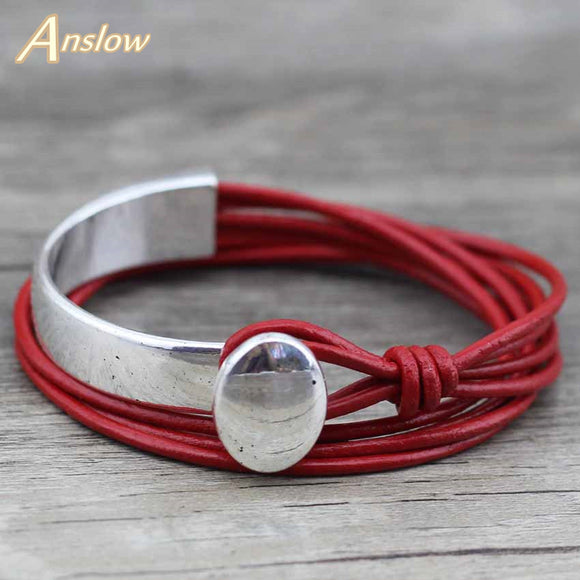 CLASSIC UNISEX CHARM VINTAGE UNIQUE SILVER PLATED LEATHER BRACELET - 4 COLOUR CHOICE