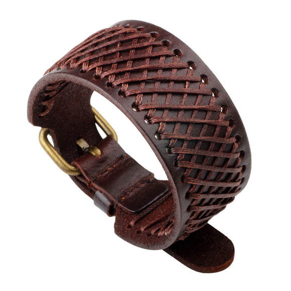 HANDMADE WEAVING GENUINE LEATHER WRAP BRACELET - 3 COLOUR CHOICES - 1PC