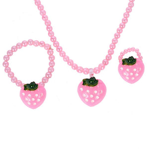 BEADED STRAWBERRY NECKLACE BRACELET RING SET - Hey Magento