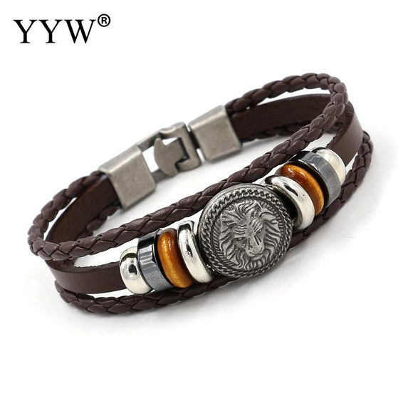 HANDMADE RETRO LEATHER WOVEN CHARM BRACELET