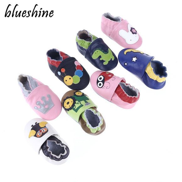 GENUINE LEATHER MIXED TODDLER BABY MOCCASINS SOFT BOTTOM - 28 COLOURS - 4 SIZES