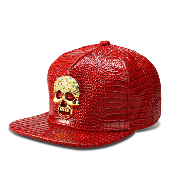 CRYSTAL GOLD SKULL FAUX LEATHER HIPHOP DANCE SNAPBACK
