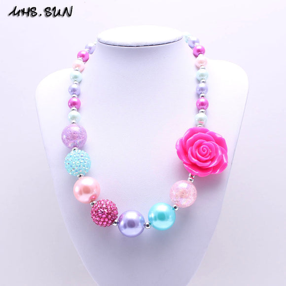 HOT PINK FLOWER CHUNKY GIRLS NECKLACE