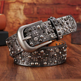 WOMENS RIVET LEATHER AND PU ANCIENT BELT - 4 COLOURS