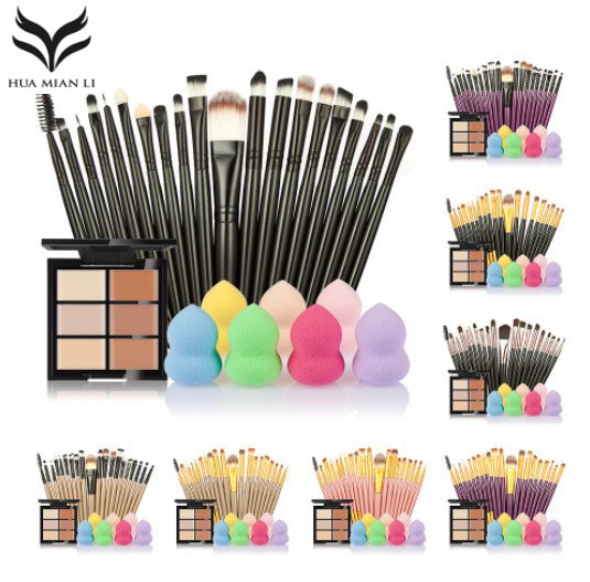 6 COLOURS - 12 CHOICES - CONCEALER PALETTE MAQIAGEM PUFF 20 BRUSHES - Hey Magento
